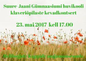 Suure-Jaani Gümnaasiumi huvikooli klaveriõpilaste kevadkontsert
